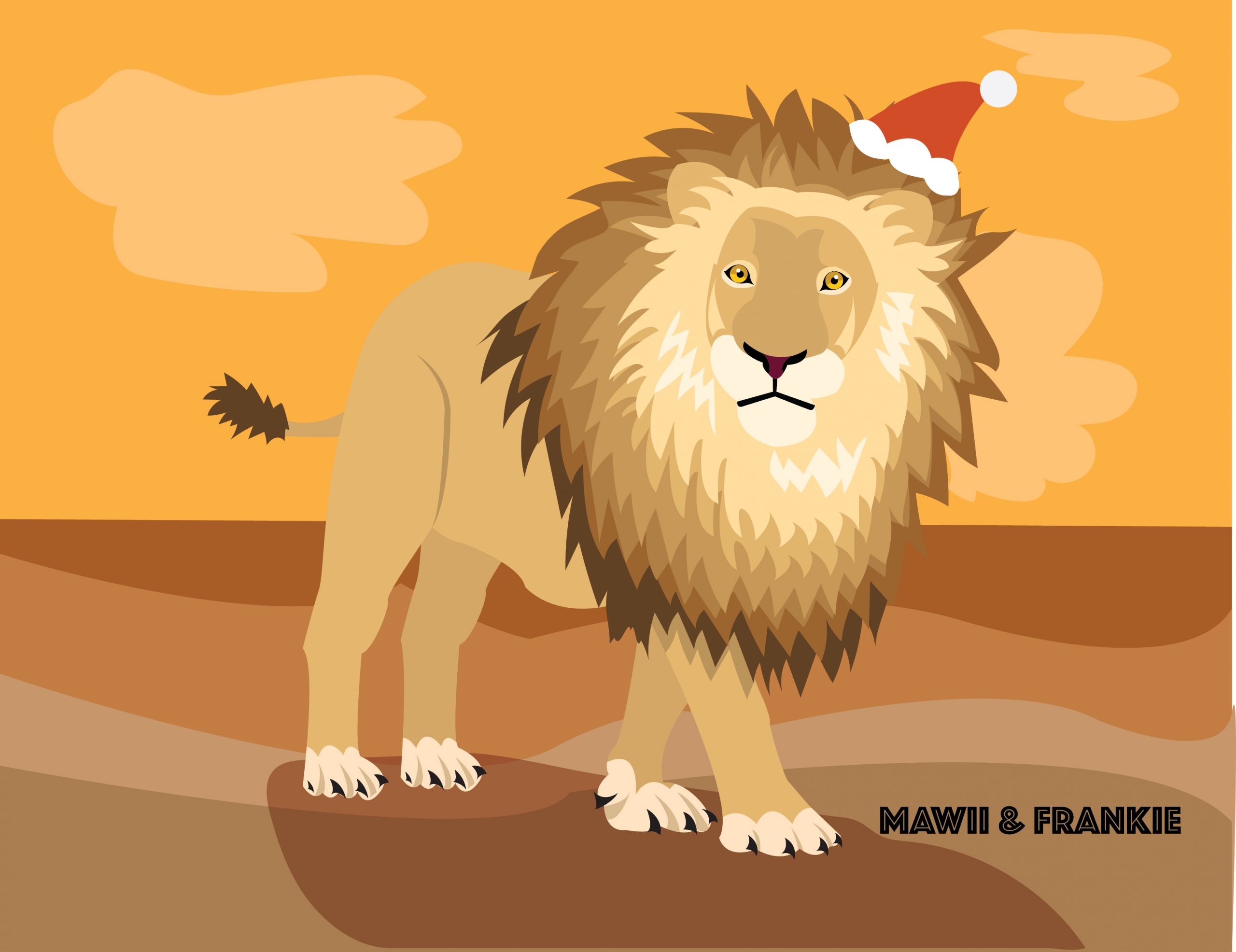 King lion with christmas hat